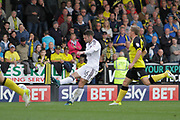 Fulham midfielder Oliver Norwood (16) scores a goal to make the score 1-1 and celebrates during the EFL Sky Bet Championship match between Burton Albion and Fulham at the Pirelli Stadium, Burton upon Trent, England on 16 September 2017. Photo by Richard Holmes.