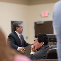 Assistant DA Brandon Vigil looks back after Robert Don Lohbeck states the name of the victim during his opening statements. Day 1 of the Green Case began Tuesday afternoon at the 13th Judicial District Courthouse in Grants Tuesday afternoon.