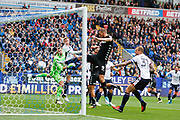 Bolton Wanderers keeper Mark Howard (33) is stranded as Leeds United Kalvin Phillips (23) scores from the corner 0-1 during the EFL Sky Bet Championship match between Bolton Wanderers and Leeds United at the Macron Stadium, Bolton, England on 6 August 2017. Photo by Craig Galloway.