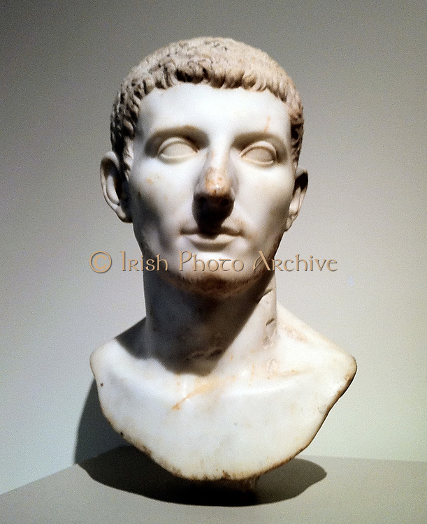 Marble portrait of a man. Roman AD 81-96 Possibly a portrait of the Emperor Domitian