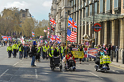 Uk yellow vests gathered in Central London to protest against the Government's handling of Brexit.<br /> <br /> Richard Hancox | EEm 13042019