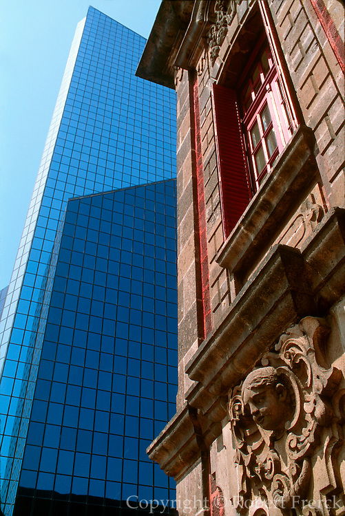 MEXICO, MEXICO CITY, CITYSCAPES Colonial Building with the new Bolsa (National Stock Exchange) building beyond, on Paseo de la Reforma