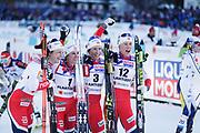 LAHTIS, FINLAND - 2017-03-04: Astrid Uhrenholdt Jacobsen Heidi Weng Marit Bjorgen Ragnhild Haga under damernas 30 km mass start under FIS Nordic World Ski Championships den 4 mars , 2017 i Lahtis, Finland. Foto: Nils Petter Nilsson/Ombrello<br /> ***BETALBILD***