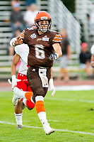 KELOWNA, BC - AUGUST 17:  Ethan Newman #6 of Okanagan Sun throws the ball against the Westshore Rebels  at the Apple Bowl on August 17, 2019 in Kelowna, Canada. (Photo by Marissa Baecker/Shoot the Breeze)
