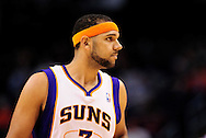 Feb. 15, 2012; Phoenix, AZ, USA; Phoenix Suns forward Jared Dudley (3) reacts on the court against the Atlanta Hawks at the US Airways Center. The Hawks defeated the Suns 101-99. Mandatory Credit: Jennifer Stewart-US PRESSWIRE..