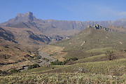 View on the Amphitheatre in the Drakensberg mountains during the winter with the dry river bed of the Tugela in the foregound. Known as uKhahlamba in Zulu which means barrier of the spears. The mountains form a barrier between South Africa and Lesotho and are a world heritage site. The largest proportion of the Drakensberg area falls in the province of KwaZulu-Natal in South Africa.