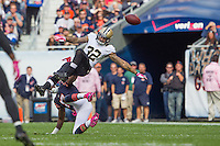 06 October 2013: Safety (32) Kenny Vaccaro of the New Orleans Saints bats a pass down intended for (17) Alshon Jeffery of the Chicago Bears during the first half of the Saints 26-18 victory over the Bears in an NFL Game at Soldier Field in Chicago, IL.