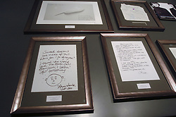 (c) London News Pictures. 06/12/2010. Lyrics penned by famous songwriters including Sir Paul McCartney, Gary Barlow, Paul Weller and Annie Lennox go on display before the Bonhams' Entertainment Memorabilia Auction on the 15th December with proceeds going to the Teenage Cancer Trust.  Picture caption should read Will Oliver/London News Pictures.