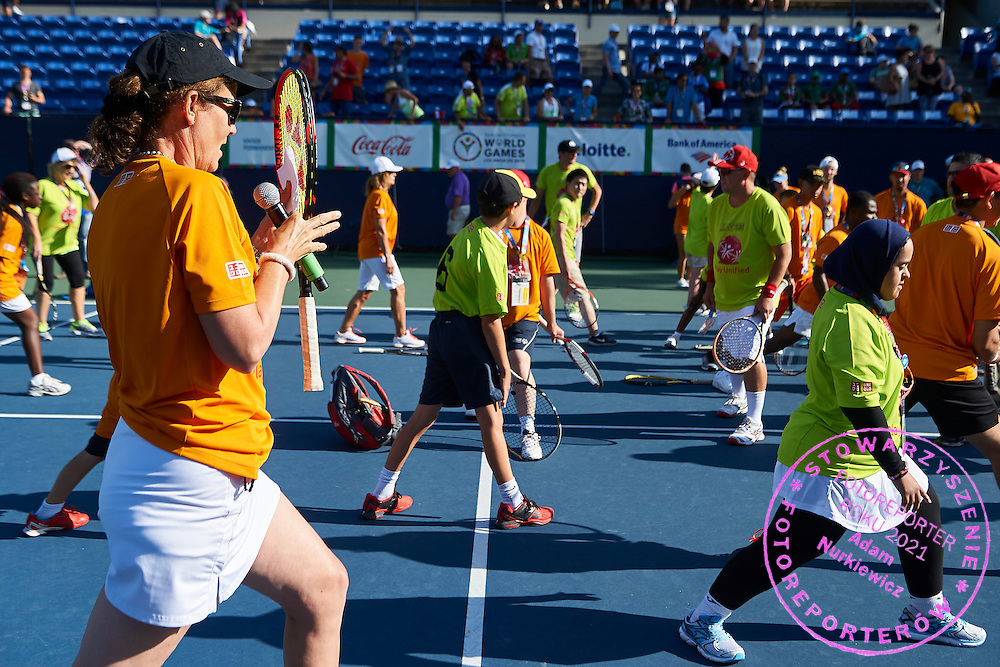 Pamela Howard Shriver an American former professional tennis (won a women's doubles gold medal at the 1988 Olympic Games in Seoul) in action while Unified Tennis Experience during sixth day of the Special Olympics World Games Los Angeles 2015 on July 30, 2015 at Tennis Centre on UCLA (University of California Los Angeles) in Los Angeles, USA.<br /> <br /> USA, Los Angeles, July 30, 2015<br /> <br /> Picture also available in RAW (NEF) or TIFF format on special request.<br /> <br /> For editorial use only. Any commercial or promotional use requires permission.<br /> <br /> Adam Nurkiewicz declares that he has no rights to the image of people at the photographs of his authorship.<br /> <br /> Mandatory credit:<br /> Photo by &copy; Adam Nurkiewicz / Mediasport