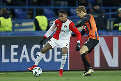 (L-R) Jean-Paul Boetius of Feyenoord, Bohdan Butko of FC Shakhtar Donetsk during the UEFA Champions League group F match between Shakhtar Donetsk and Feyenoord Rotterdam at Metalist Stadium on November 01, 2017 in Kharkiv, Ukraine