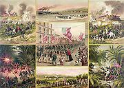 Spanish-Cuban-American War 1898:  US troops answering their country's call (centre) surrounded by vignettes of various episodes, including the fall of Spanish-held El Caney near Santiago de Cuba on 1 July.  Print c1899.