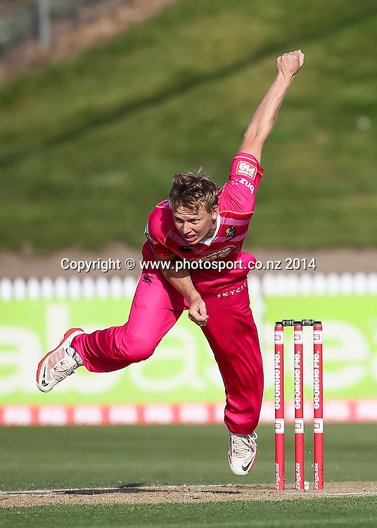 Northern Knight's Scott Kuggeleijn bowling during the Georgie Pie Super Smash T20 cricket match - Knights v Firebirds at Seddon Park, Hamilton, New Zealand on Saturday 1 November 2014.  Photo: Bruce Lim / www.photosport.co.nz