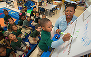 Stephanie Blow teaches reading to her Pre-K students at Fonwood Early Learning Center, April 15, 2014.