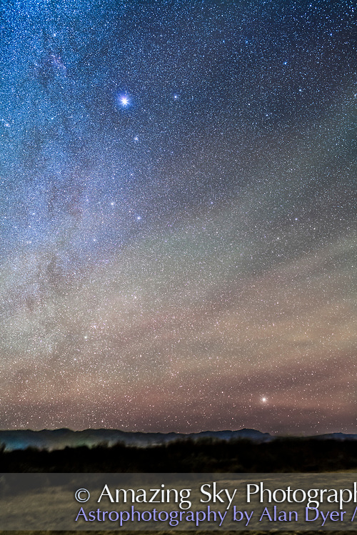Sirius and Canopus, the two brightest stars in the night sky, together in the Arizona winter sky, with Canopus just clearing the horizon low in the south. Sirius is in Canis Major, while Canopus is in Carina, formerly part of Argo Navis. I shot this December 7, 2015 from the Quailway Cottage near Portal, Arizona, at a latitude of +32&deg; N. Airglow adds the green bands. The open cluster M41 is visible just below Sirius. Several other star clusters in Puppis just show up as well below Canis Major.<br /> <br /> This is a stack of 5 x 2-minute exposures at f/2.8 with the 35mm lens and Canon 5D MkII at ISO 2500, on the iOptron Sky-Tracker.