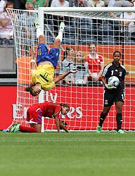06-07-2011 VOETBAL: FIFA WOMENS WORLDCUP 2011 EQUATORIAL GUINEA - BRAZIL: FRANKFURT<br /> Salto / Torjubel Cristiane (BRA) nach dem 0:2 <br /> ***NETHERLANDS ONLY***<br /> ©2011-FRH- NPH/Karina Hessland