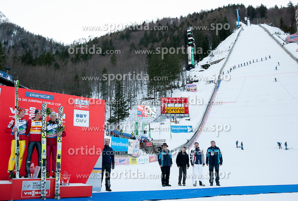 Second placed PREVC Peter of Slovenia, winner SCHLIERENZAUER Gregor of Austria and third placed ZYLA Piotr of Poland during Trophy ceremony after the Flying Hill Individual Competition at 2nd day of FIS Ski Jumping World Cup Finals Planica 2013, on March 22, 2012, in Planica, Slovenia. (Photo by Vid Ponikvar / Sportida.com)
