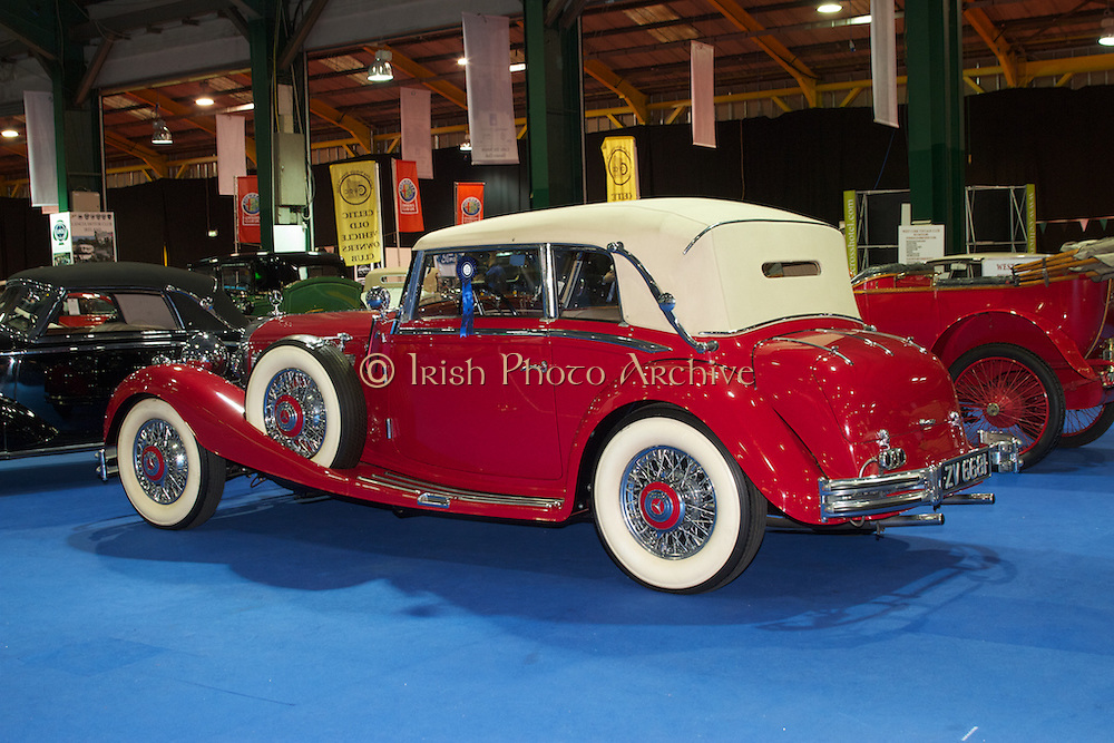 RIAC Classic Car Show 2013, RDS, 1936 Mercedes-Benz 500K, an elegant luxury sports car. It is a vehicle for the beautiful, the rich and the powerful all around the world. Irish, Photo, Archive.