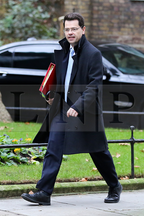"© Licensed to London News Pictures. 18/12/2018. London, UK. James Brokenshire - Secretary of State for Housing Communities and Local Government  arrives in Downing Street for the weekly Cabinet meeting. The Cabinet will discuss the preparations for a ""No Deal"" Brexit. Photo credit: Dinendra Haria/LNP"