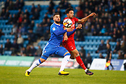 Leyton Orient's Macauley Boone and Gillingham's Max Ehmer during the The FA Cup match between Gillingham and Leyton Orient at the MEMS Priestfield Stadium, Gillingham, England on 4 November 2017. Photo by John Marsh.