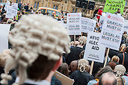 Hundreds of lawyers and barristers staged a protest at Westminster against legal aid cuts. They carried with them a huge effigy of Chris Grayling, the Justice Minister and were led by 'Justice' in a gold costume.<br /> <br /> Speakers included - Sadiq Khan is the Labour MP for Tooting and shadow minister for London, Shami Chakrabarti Director of Liberty, Blur drummer-turned-solicitor Dave Rowntree and Paddy Hill, one of the Birmingham Six.  Houses of Parliament, Westminster, London, UK 07 March 2014. <br /> Guy Bell Photography, 07771 786236, guy@gbphotos.com