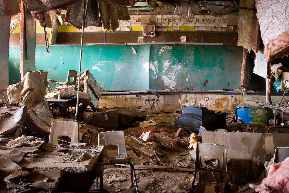 School in the lower 9th Ward of New Orleans destroyed by Hurricane Katrina Katrina