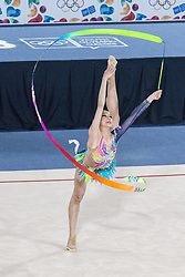 October 10, 2018 - City Of Buenos Aires, City of Buenos Aires, Argentina - SPORT. City of Buenos Aires, Argentina. 2018, October 10.- RAYNA KHAI LING HOH of Malaysia competes in Rhythmic Gymnastic ribbon in Multidiscipline Team Event on day four of Buenos Aires 2018 Youth Olympic Games at Youth Olympic Park on October 10, 2018 in City of Buenos Aires, Argentina. (Credit Image: © Julieta Ferrario/ZUMA Wire)