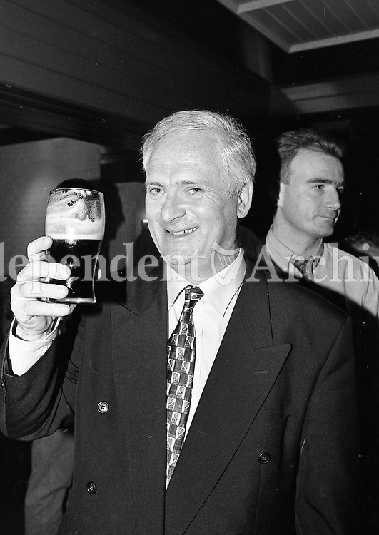 Taoiseach John Burton drinking a Pint in Kiely's Pub, Donnybrook after the TV debate with Bertie Ahern, circa June 1997 (Part of the Indeoendent Newspapers Ireland/NLI Collection).