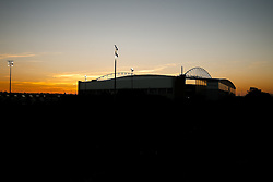 A General View as the sun sets behind the DW Stadium before the match - Photo mandatory by-line: Rogan Thomson/JMP - 07966 386802 - 22/09/2014 - SPORT - FOOTBALL - Wigan, England - DW Stadium - Wigan Athletic v Ipswich Town - Sky Bet Championship.