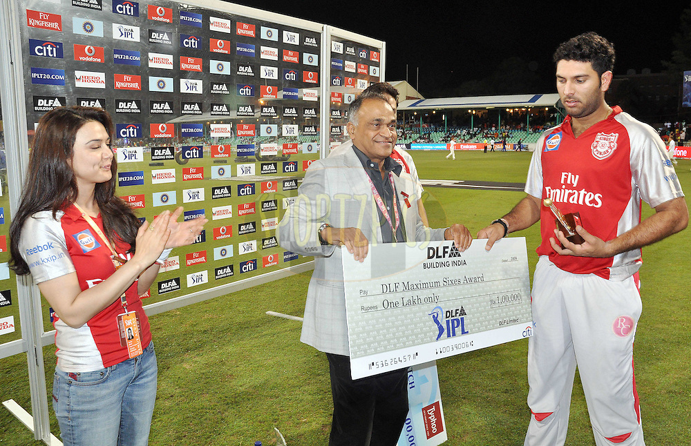 DURBAN, SOUTH AFRICA - 1 Mayl 2009. Man of the match/max sixes Yuvraj Singh during the IPL Season 2 match between Kings X1 Punjab and the Royal Challengers Bangalore held at Sahara Stadium Kingsmead, Durban, South Africa..