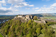 Aerial view of Stirling Castle, site of a medieval castle but with current buildings dating to 15th and 16th centuries, on Castle Hill, in Stirling, Scotland. The castle was an important royal palace for centuries and has seen many coronations and sieges. The castle is listed as a scheduled ancient monument and is run by Historic Environment Scotland. Picture by Manuel Cohen