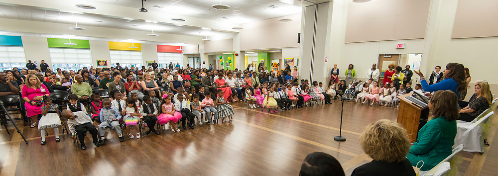 Houston ISD Trustee Rhonda Skillern-Jones comments during a dedication ceremony at Fonwood Early Childhood Center, May 3, 2017.