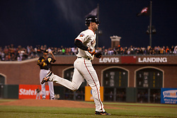 August 9, 2011; San Francisco, CA, USA;  San Francisco Giants catcher Chris Stewart (37) rounds the bases after hitting his first career major league home run off of Pittsburgh Pirates starting pitcher James McDonald (back) during the fifth inning at AT&T Park.