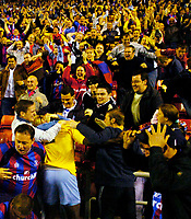Photo. Jed Wee, Digitalsport<br /> NORWAY ONLY<br /> <br /> Sunderland v Crystal Palace, Nationwide League Division One Playoff Semi-finals Second Leg, 16/05/2004.<br /> Crystal Palace's Darren Powell is mobbed by fans after scoring, as the fans join the celebrations.