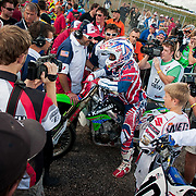 James Stewart stages before race 3. As usual, wherever the Americans go, chaos follows. Not a moment of rest for any of the American team riders. at these events The European fans and media take every chance to be near the American riders. All weekend James handled the extra attention in stride and kept his good humour.