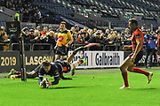 Try for Darcy Graham during the Guinness Pro 14 2018_19 match between Edinburgh Rugby and Southern Kings at BT Murrayfield Stadium, Edinburgh, Scotland on 5 January 2019.