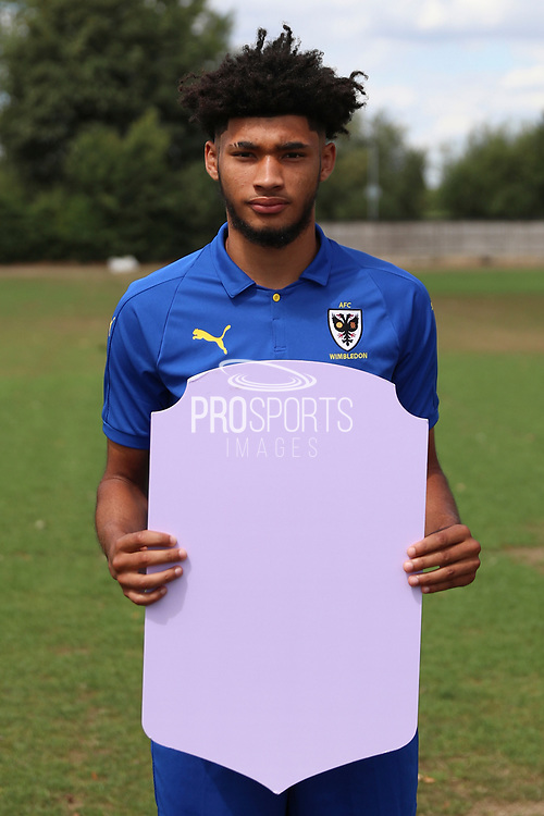 AFC Wimbledon Tyler Burey holding Fifa sign during the AFC Wimbledon 2018/19 official photocall at the Kings Sports Ground, New Malden, United Kingdom on 31 July 2018. Picture by Matthew Redman.