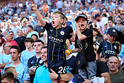 Man City fans celebrating during the FA Community Shield match between Chelsea and Manchester City at Wembley Stadium, London, England on 5 August 2018.