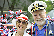Parade Grand Marshall Everett A. Rosenblum (right) and his wife (left) at the Merrick Memorial Day Parade and Ceremony on Monday, May 28, 2012, on Long Island, New York, USA. America's war heroes are honored on this National Holiday.