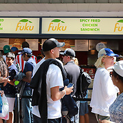 2017 U.S. Open Tennis Tournament - DAY THREE.  Spectators queue at a food outlet at the US Open Tennis Tournament at the USTA Billie Jean King National Tennis Center on August 30, 2017 in Flushing, Queens, New York City.  (Photo by Tim Clayton/Corbis via Getty Images)