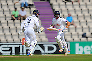 James Vince of Hampshire and Sean Ervine of Hampshire running between the wickets during the Specsavers County Champ Div 1 match between Hampshire County Cricket Club and Yorkshire County Cricket Club at the Ageas Bowl, Southampton, United Kingdom on 1 September 2016. Photo by Graham Hunt.