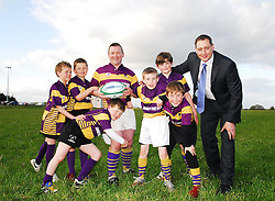 Ready to tackle the club renovation work ..Ulster Bank's John Dempsey joining forces with members of Ballyhaunis Rugby Club including 1st's team captain Seamus Horan and some yonger enthusiastic members of the Club for Ulster Bank's Rugby Force campaing in Connacht. ..Pic Conor McKeown