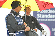 Carlota Ciganda looks happier than her caddy during the final round of the Aberdeen Standard Investment Ladies Scottish Open 2018 at Gullane Golf Club, Gullane, Scotland on 29 July 2018. Picture by Kevin Murray.
