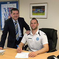 St Johnstone Chairman Steve Brown pictured with keeper Alan Mannus who has signed a new contract with saints....20.05.13<br /> Picture by Graeme Hart.<br /> Copyright Perthshire Picture Agency<br /> Tel: 01738 623350  Mobile: 07990 594431