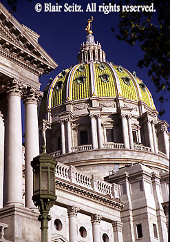 PA Capitol, Harrisburg, PA, Architect Joseph Huston, from Northwest