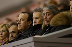 Liverpool, England - Friday, January 26, 2007: Liverpool's manager Rafael Benitez, Chief-Executive Rick Parry and Chairman David Moores watch their youth team beat Reading 1-0 during the FA Youth Cup 5th Round match at Anfield. (Pic by David Rawcliffe/Propaganda)