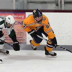 Staff photos by Tom Kelly IV<br /> Springfield's Tyler Riddle (87) controls the puck around Ridley's Thomas Plotts (94) during the Springfield vs Ridley ice hockey game at Ice Works in Aston, Thursday night.