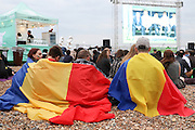 Romanian fans at Brighton Big Screen Events match, Madeira Drive, Brighton showing the Euro 2016 between France and Romania at Stade de France, Paris, France on 10 June 2016. Photo by Stuart Butcher.