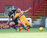 Dundee's Darren O'Dea and Motherwell's Scott McDonald grapple - Motherwell v Dundee in the Ladbrokes Scottish Premiership at Fir Park, Motherwell. Photo: David Young<br /> <br />  - © David Young - www.davidyoungphoto.co.uk - email: davidyoungphoto@gmail.com