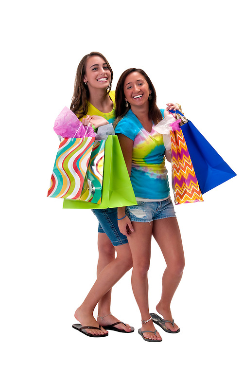 Young woman friends with shopping bags very happy.
