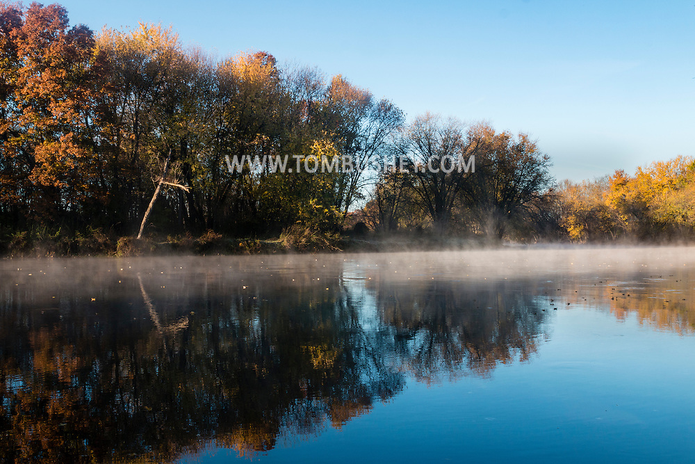 Montgomery, New York - Mist rises off the Wallkill River on a chilly autumn morning on October 31, 2015.